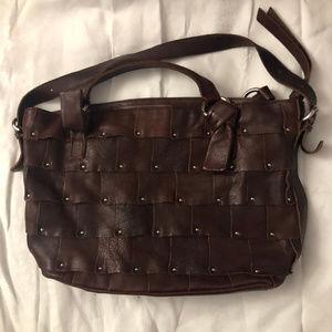 B. Makowsky Studded Leather Handbag Purse Tote Bag